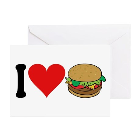 I Love Hamburgers (design) Greeting Cards (Pk of 1