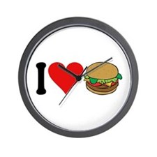 I Love Hamburgers (design) Wall Clock