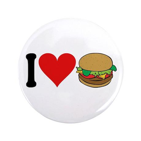 "I Love Hamburgers (design) 3.5"" Button"