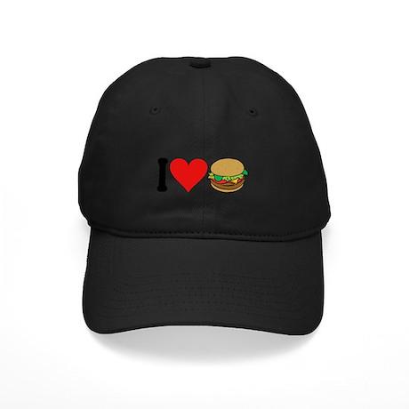 I Love Hamburgers (design) Black Cap