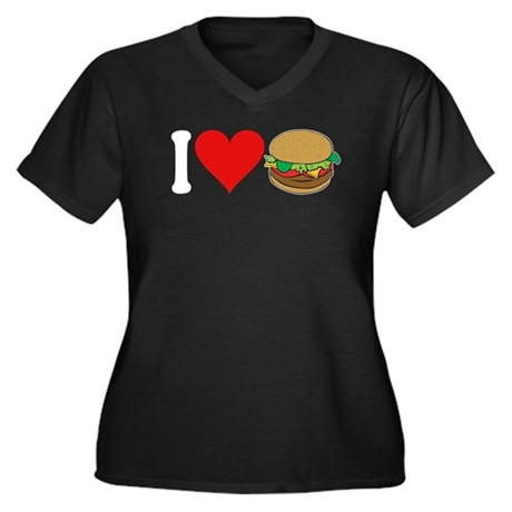 I Love Hamburgers (design) Women's Plus Size V-Nec
