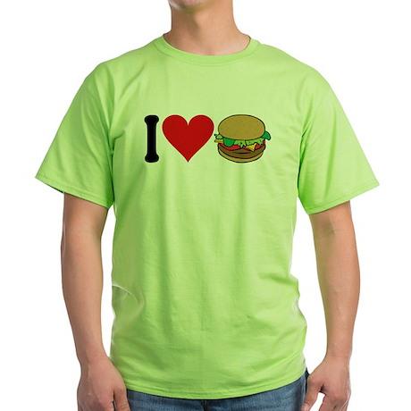 I Love Hamburgers (design) Green T-Shirt