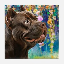 American Staffordshire Terrier Painting Tile Coast