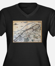 Vintage Map of Bruges Belgium (1 Plus Size T-Shirt