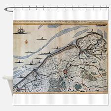 Vintage Map of Bruges Belgium (17th Shower Curtain