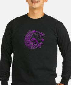 mare and foal design purple.psd Long Sleeve T-Shir