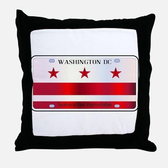 Washington DC License Plate Flag Throw Pillow