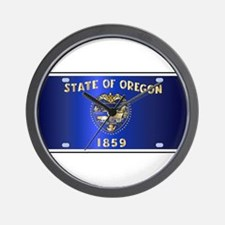 Oregon State License Plate Flag Wall Clock