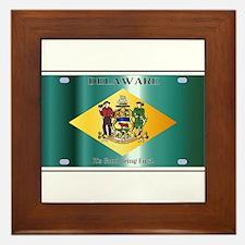 Delaware State License Plate Flag Framed Tile