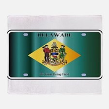 Delaware State License Plate Flag Throw Blanket