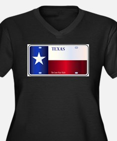 Texas State Flag License Plate Plus Size T-Shirt