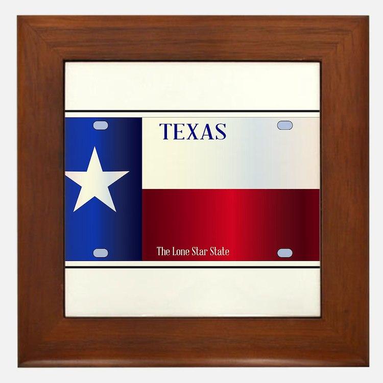 Texas State Flag License Plate Framed Tile