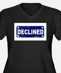 Blue Declined Ink Stamp Plus Size T-Shirt