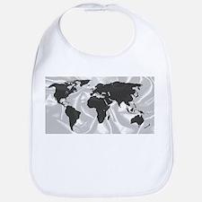 World Outline On Silk Background Bib