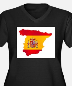 Silhouette Flag Map Of Spain Plus Size T-Shirt