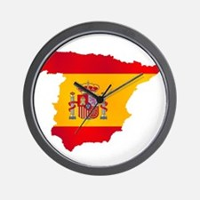 Silhouette Flag Map Of Spain Wall Clock