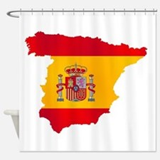 Silhouette Flag Map Of Spain Shower Curtain
