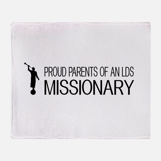 LDS: Proud Missionary Parents (White Throw Blanket