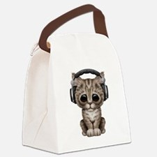 Cute Kitten Dj Wearing Headphones Canvas Lunch Bag