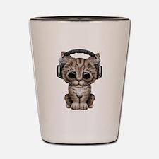 Cute Kitten Dj Wearing Headphones Shot Glass