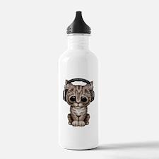 Cute Kitten Dj Wearing Headphones Water Bottle