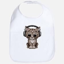 Cute Kitten Dj Wearing Headphones Bib