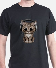 Cute Kitten Dj Wearing Headphones T-Shirt
