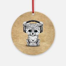 Cute Snow leopard Cub Dj Wearing Headphones Round