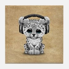 Cute Snow leopard Cub Dj Wearing Headphones Tile C