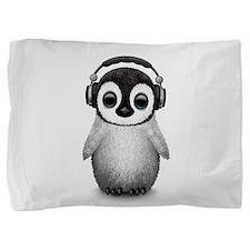 Baby Penguin Dj Wearing Headphones Pillow Sham
