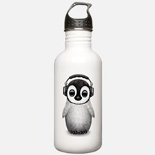 Baby Penguin Dj Wearing Headphones Water Bottle