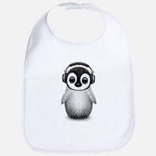 Baby Penguin Dj Wearing Headphones Bib