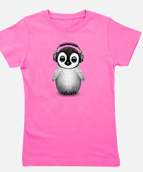 Baby Penguin Dj Wearing Headphones Girl's Tee
