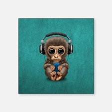 Cute Baby Monkey With Cell Phone Wearing Headphone