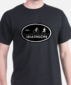 Triathlon Oval Black Ash Grey T-Shirt
