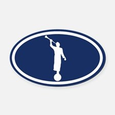 LDS: The Angel Moroni (Blue) Oval Car Magnet