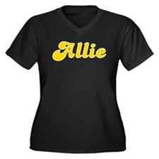 Allie Fancy (Gold) Women's Plus Size V-Neck Dark T
