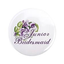 "Floral Junior Bridesmaid 3.5"" Button"