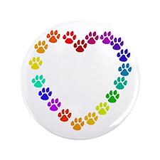 """Cat Print Heart 3.5"""" Button"""