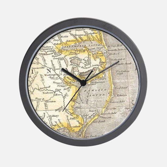 Vintage Map of The Outer Banks (1818) Wall Clock