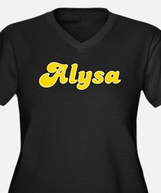 Alysa Fancy (Gold) Women's Plus Size V-Neck Dark T