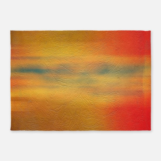 Yellow Orange Wall Paint Texture 5'x7'Area Rug