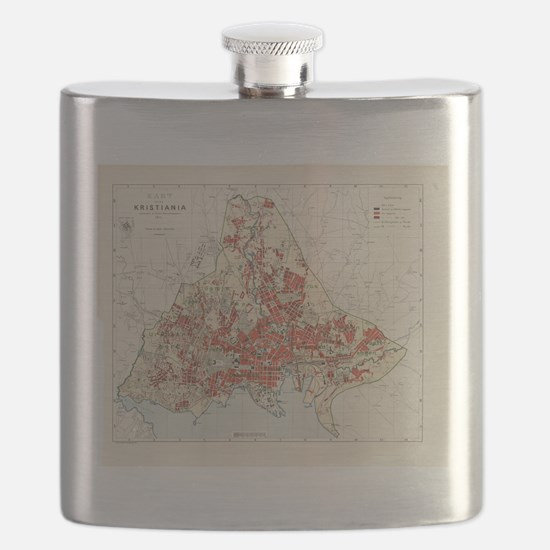 Vintage Map of Oslo Norway (1911) Flask