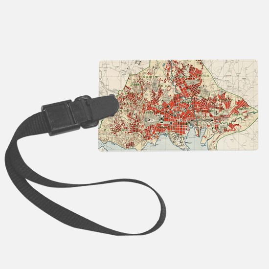 Vintage Map of Oslo Norway (1911 Luggage Tag