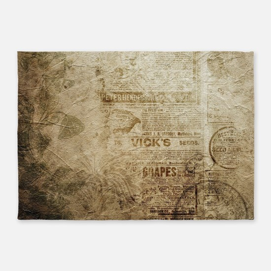 Antique Vintage Worn Decor Paper 5'x7'Area Rug