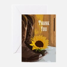Country Sunflower Thank You Greeting Cards