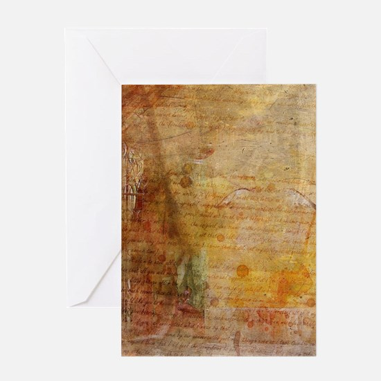 Antique Vintage Old Letters Texture Greeting Cards