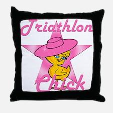 Triathlon Chick #8 Throw Pillow