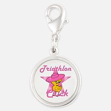 Triathlon Chick #8 Silver Round Charm