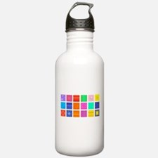 Rainbow Fabric Collage Water Bottle
